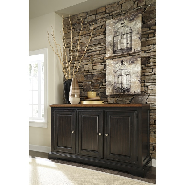 design by ashley shardinelle two tone brown dining room server