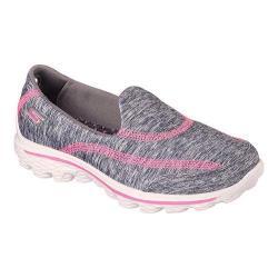 Girls' Skechers GOwalk 2 Relay Slip On Gray/Pink
