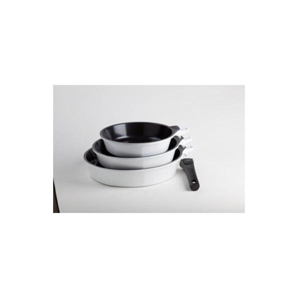 Art & Cuisine Amovible Ceramic Set of (3) Frypans (White)