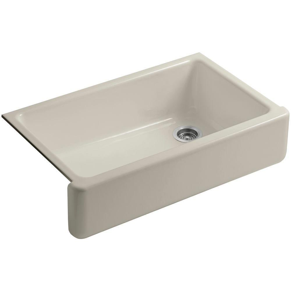 Kohler Whitehaven Undermount Cast Iron 35.6875 inch 0-hole Single Bowl Kitchen Sink in Sandbar