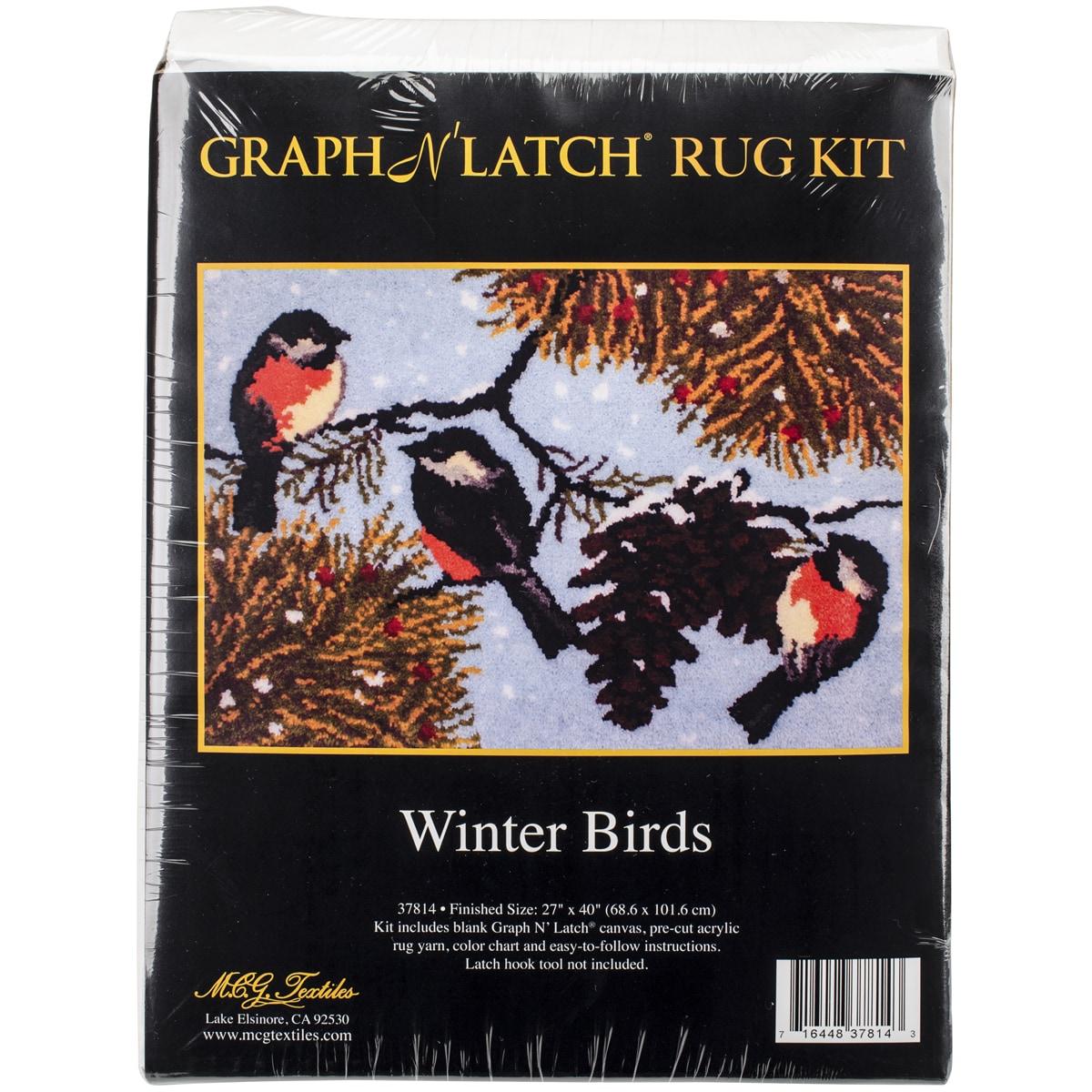 """Latch Hook Kit 40""""X27""""-Winter Birds"""
