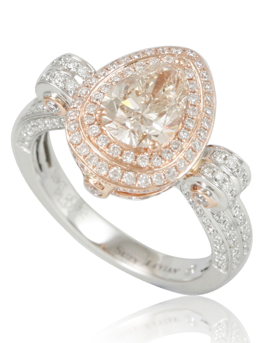 Suzy Levian 18k Rose & White Two-Tone Gold & Diamond (2.26ct TDW) Pear-Shape Brown / Pink Bridal Engagement Ring