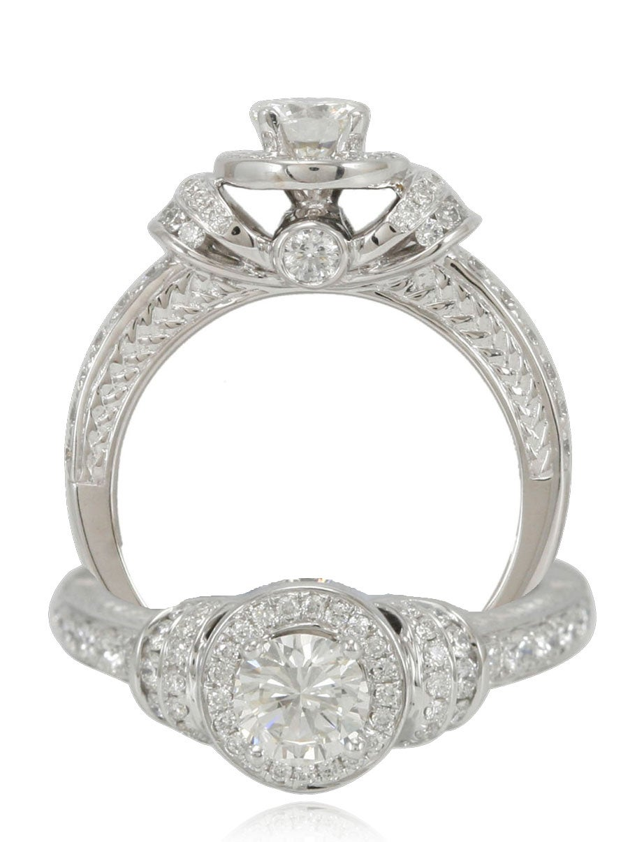 Suzy Levian 18k White Gold & Diamond (1.11ct TDW) J-VS1 Bridal Engagement Ring & GIA Cert