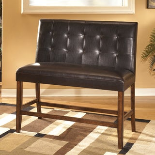 Lacey Medium Brown Faux Leather Double Bar Stool (Set of 2)