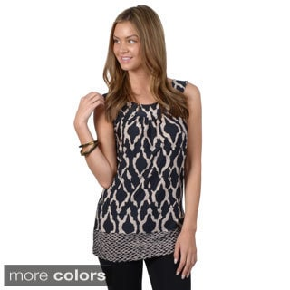 Journee Collection Women's Sleeveless Printed Tunic Top