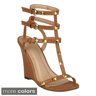 Journee Collection Women's 'Jaida-8' Studded T-strap Wedges