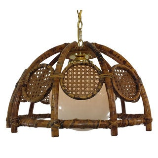 Natural distressed Rattan 1-light Pendant with Polished Brass Accents