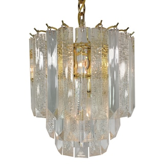 Made in USA 4-light Acrylic Crystal Chandelier with Brass Finish