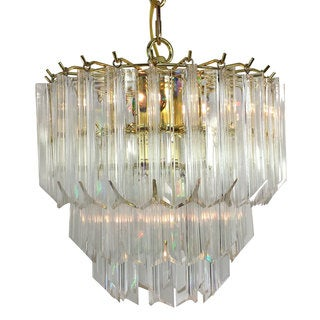 4-light Multi-tier Chandelier with Brass Finish