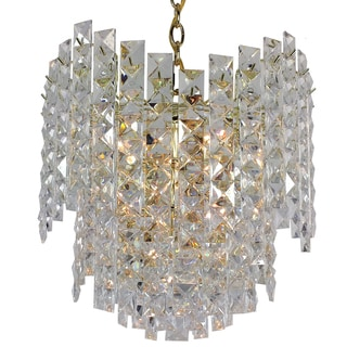 7-light Prismatic Multi-tiered roller coaster Chandelier with Brass Finish