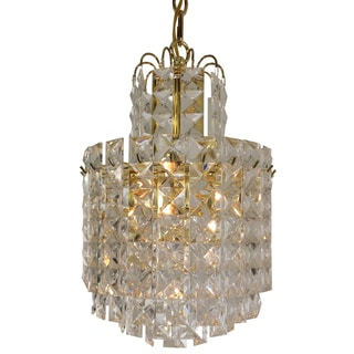 Prismatic 4-light Multi-tiered Chandelier with Brass Finish.