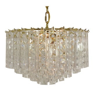Prismatic 4-light Multi-tier Chandelier with Brass Finish.