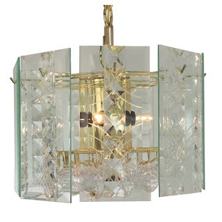4-light Wexford with prisma and gem Chandelier with Brass Finish
