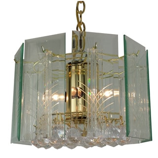 4-light Wexford with lazer cut and gem Chandelier with Brass Finish