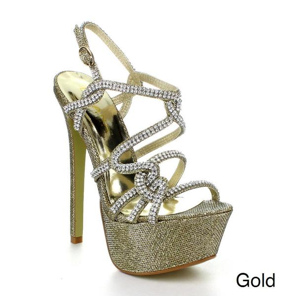 Liliana IGGY-3 Women's Rhinestone Strap Platform Stiletto Heels