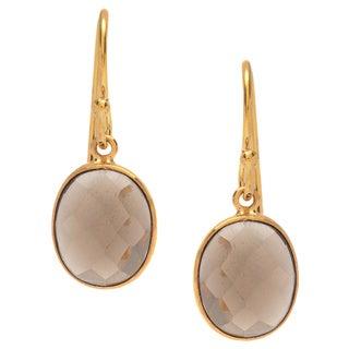 Sitara Goldplated Oval-cut Smokey Quartz Earrings (India)