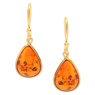 Sitara Goldplated Pear-cut Faux Amber Dangle Earrings (India)