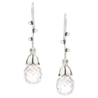 Sitara Sterling Silver Faceted Crystal Dangle Earrings (India)