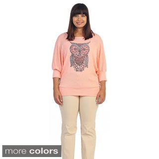Hadari Women's Plus Size Owl Graphic 3/4-sleeve Pull-over