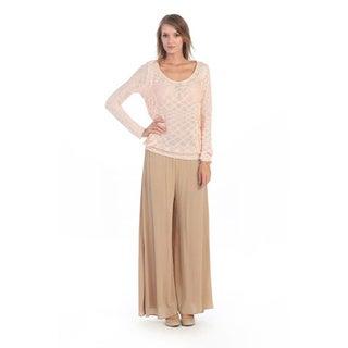 Hadari Women's Peach Lace Sweater