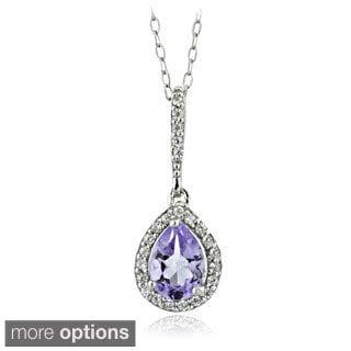 Glitzy Rocks Sterling Silver Gemstone and Cubic Zirconia Teardrop Necklace
