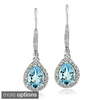Glitzy Rocks Sterling Silver Gemstone and Cubic Zirconia Teardrop Earrings