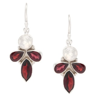 Sitara Silverplated Moonstone and Garnet Dangle Earrings (India)