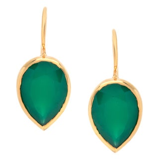 Sitara Goldplated Green Onyx Dangle Earrings (India)