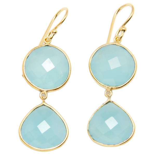 Sitara Aqua Chalcedony Gold-plated Earrings (India)