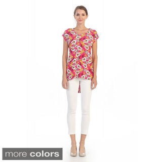Hadari Women's Floral Print High-low Blouse