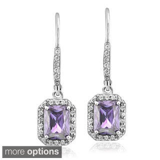 Glitzy Rocks Sterling Silver Gemstone and Cubic Zirconia Emerald-cut Earrings