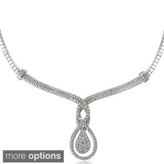 DB Designs Silvertone or Goldtone 1/4ct TDW Diamond Intertwining Infinity Frontal Necklace