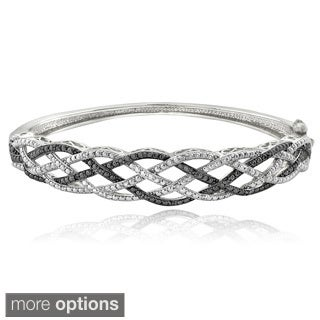 DB Designs Silvertone 1/4ct TDW White and Black or Blue Diamond Weave Bangle Bracelet (I-J, I2-I3)
