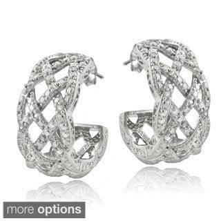 DB Designs Silvertone or Goldtone 1/4ct TDW Diamond Weave Half Hoop Earrings (I-J, I2-I3)