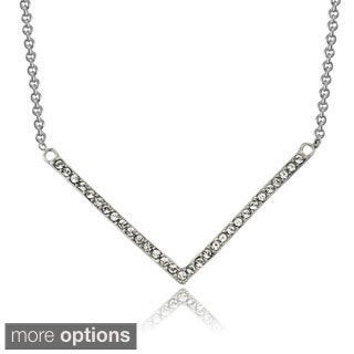 Icz Stonez Sterling Silver Cubic Zirconia Chevron Bar Necklace