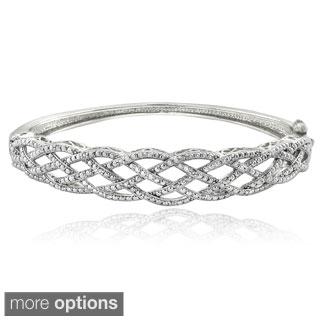 DB Designs Silvertone or Goldtone 1/4ct TDW Diamond Weave Bangle Bracelet (I-J, I2-I3)