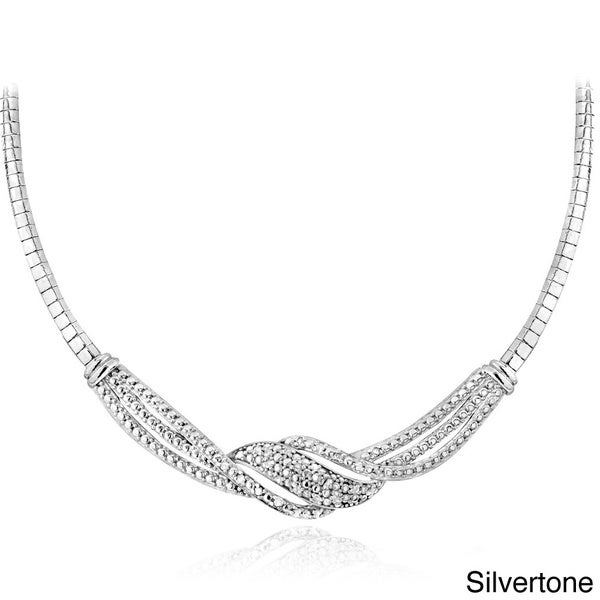 DB Designs Silvertone or Goldtone 1/4ct TDW Diamond Twist Necklace (I-J, I2-I3)