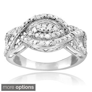 DB Designs Silvertone or Goldtone 1/4ct TDW Diamond Intertwining Infinity Ring (I-J, I2-I3)