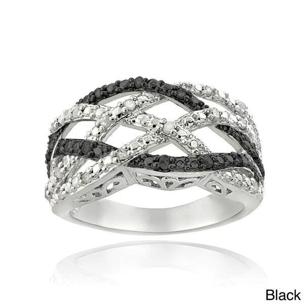 DB Design Silvertone 1/4ct TDW Black or Blue and White Diamond Weave Ring (I-J, I2-I3)