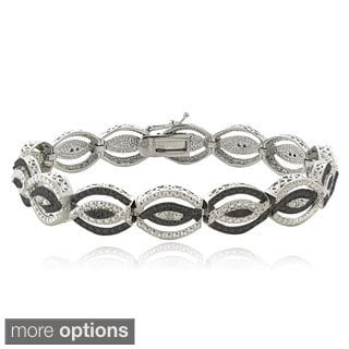 DB Designs Silvertone 1/4ct TDW Black or Blue and White Diamond Intertwining Bracelet (I-J, I2-I3)