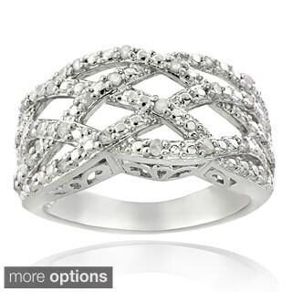 DB Design Silvertone or Goldtone 1/4ct TDW Diamond Weave Ring (I-J, I2-I3)