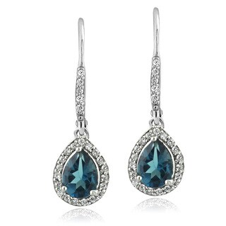 Glitzy Rocks Sterling Silver London Blue Topaz and Cubic Zirconia Teardrop Earrings