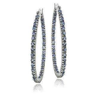 Glitzy Rocks Sterling Silver Tanzanite Oval Inside-Out Hoop Earrings