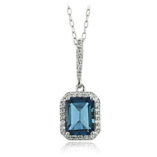Glitzy Rocks Sterling Silver London Blue Topaz and Cubic Zirconia Emerald-cut Necklace