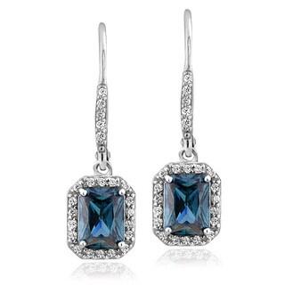 Glitzy Rocks Sterling Silver London Blue Topaz and Cubic Zirconia Emerald-cut Earrings