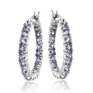 Glitzy Rocks Sterling Silver 1.75ct Tanzanite Inside-out 20mm Hoop Earrings
