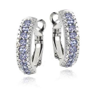 Glitzy Rocks Sterling Silver Tanzanite and Diamond Accent Clutchless Earrings