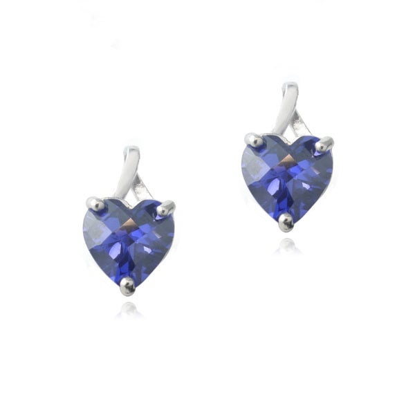 Icz Stonez Sterling Silver 3.5ct Violet Cubic Zirconia Briolette-cut Heart Drop Earrings 13081856