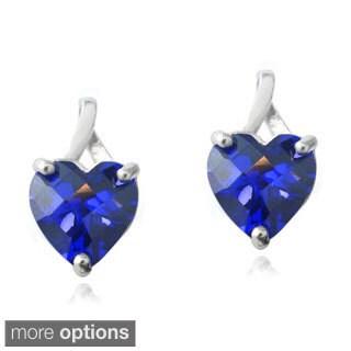 Glitzy Rocks Sterling Silver Created Ruby or Sapphire Briolette-cut Heart Drop Earrings