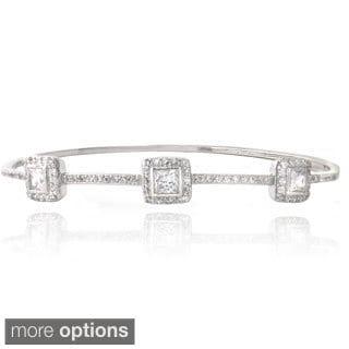 Icz Stonez Silver Tone Cubic Zirconia Three Square Bangle Bracelet